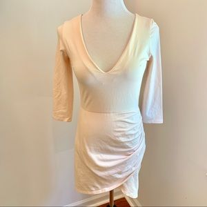 Nasty Gal Pale Pink Long Sleeve Ruched Dress Sz XS